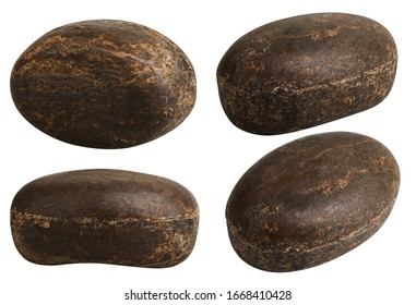 Bar of African black soap with Shea Butter for Skin Care isolated on white background. This Soap Bar is Made with Pure Natural Ingredients for  Cleansing, Nourishing, Protecting