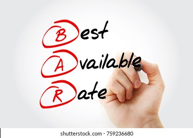 BAR - Best Available Rate, acronym business concept