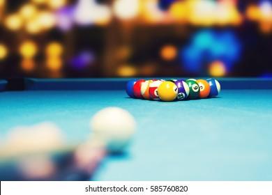 bar billiards - ready for break shot