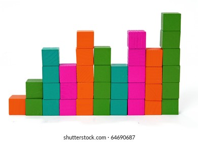Bar chart made with multicolored blocks