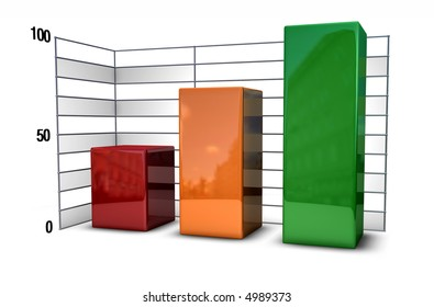 bar chart in metallic style over white