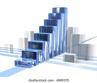 bar chart in motion for business with transparent over white
