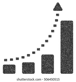 Bar Chart Positive Trend grainy textured icon for overlay watermark stamps. Flat symbol with unclean texture. Dotted glyph gray ink rubber seal stamp with grunge design on a white background.