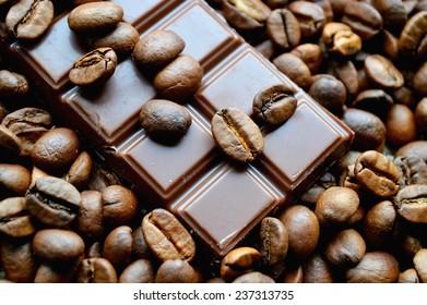 bar of chocolate, coffee beans