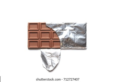 Bar of chocolate isolated on white background