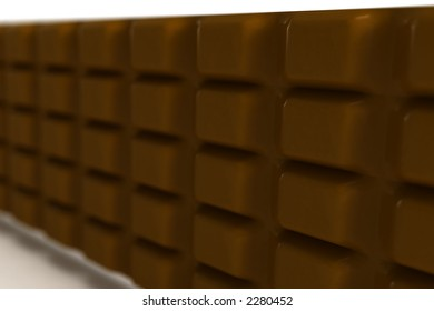 Bar of chocolate on white (DOF) (3D)