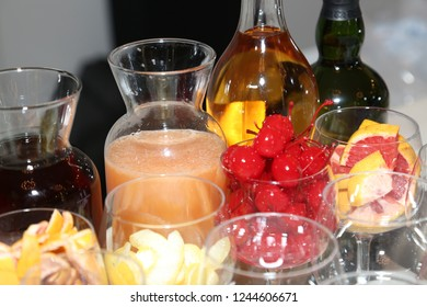 Bar cocktail mixes juices and cherries