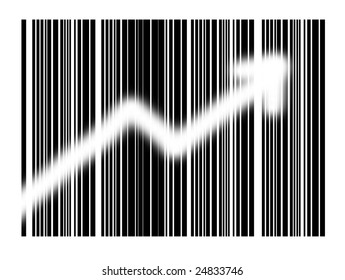 bar code with arrow on white background