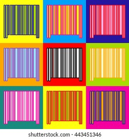 Bar code icon. Pop-art style colorful icons set with 3 colors.