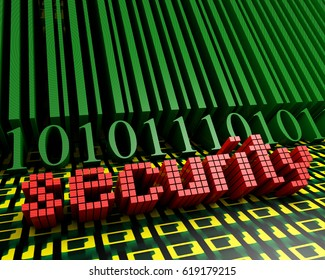 Bar code and the word security on the background of the numbers one and zero leaving in perspective. 3d illustration