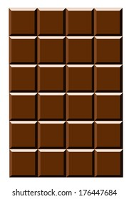 Bar of Dark (bitter) brown Chocolate. Isolated illustration on white background. Sweet dessert