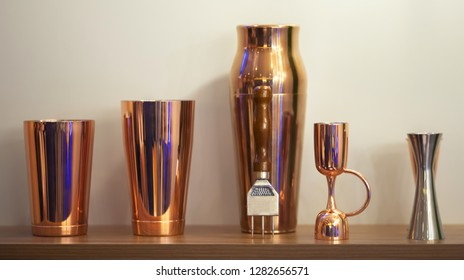 Bar equipment . Shakers, jiggers and ice cracker