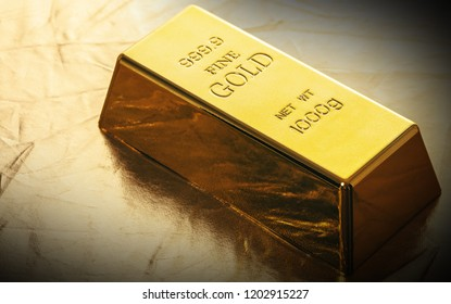 bar of gold close-up on golden background