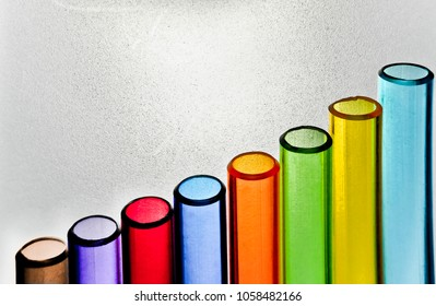 Bar Graph made of Colorful Clear Plastic Cylinders