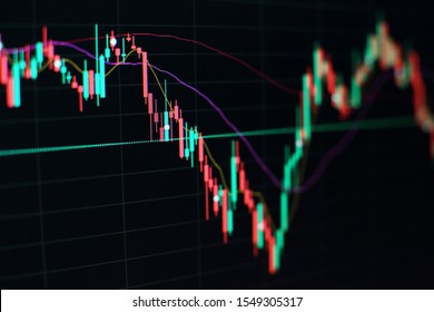 Bar graphs, Diagrams, financial figures. Forex chart. Abstract glowing forex chart interface wallpaper. Investment, trade, stock, finance and analysis concept.