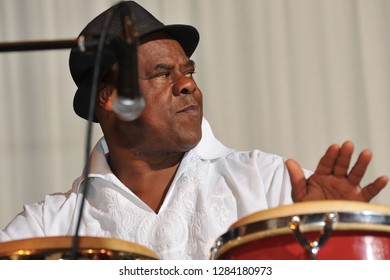 BAR HARBOR, MAINE - AUGUST 2, 2013: The Brazilian percussionist Café (Edson Aparecido da Silva) performs in Samba-meets-Jazz at the College of the Atlantic.