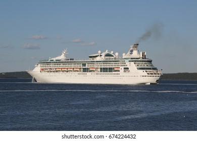 BAR HARBOR, MAINE - JULY 3, 2017: Royal Caribbean Cruise Ship Grandeur of the Seas in Bar Harbor, Maine. Grandeur of the Seas is a Vision-class cruise ship operated by Royal Caribbean International