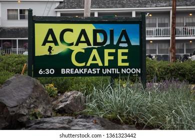 BAR HARBOR, MAINE - JULY 9, 2013:  Sign for Acadia Cafe breakfast restaurant in Bar Harbor.