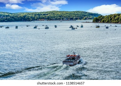 BAR HARBOR, MAINE - September 14, 2014: Bar Harbor, on the coast of Maine, has a population of only 5,000 but cruise ships bring in 250,000 tourists a year for whale watching and boating.
