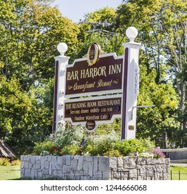 BAR HARBOR, MAINE - September 21, 2015: Bar Harbor, on the coast of Maine, has a population of only 5,000 but cruise ships bring in 250,000 tourists a year for whale watching and boating.