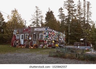 Bar Harbor Maine - September 28th, 2019: Lobster buoys and nautical decor at a local lobster pound in Bar Harbor at sunrise.
