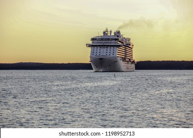 BAR HARBOR, MAINE, USA - OCTOBER 11, 2016. Regal Princess a Royal-class cruise ship operated by Princess Cruises is docking early morning in Bar Harbor