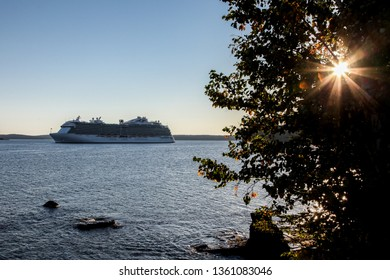 BAR HARBOR, MAINE, USA - OCTOBER 11, 2016 : Regal Princess a Royal-class cruise ship operated by Princess Cruises is docking in Bar Harbor