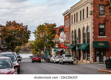 BAR HARBOR, MAINE, USA - OCTOBER 13, 2016: Bar Harbor downtown during Autumn season, Main Street view with gift shops and other buildings.