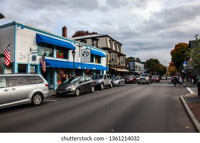 BAR HARBOR, MAINE, USA - OCTOBER 13, 2016:  Bar Harbor downtown during Autumn season, Main Street view with local shops in Bar Harbor on October 13, 2016