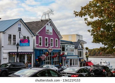 BAR HARBOR, MAINE, USA - OCTOBER 13, 2016: Bar Harbor downtown with early afternoon lights during Autumn season