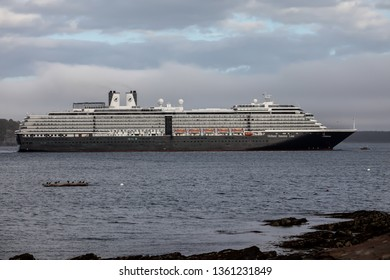 BAR HARBOR, MAINE, USA - OCTOBER 13, 2016: Bar Harbor  with docking cruise ship Zuiderdam from Holland American Line  with early afternoon lights during Autumn season