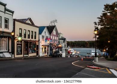 BAR HARBOR, MAINE, USA - OCTOBER 14, 2016: Bar Harbor street with morning street lights