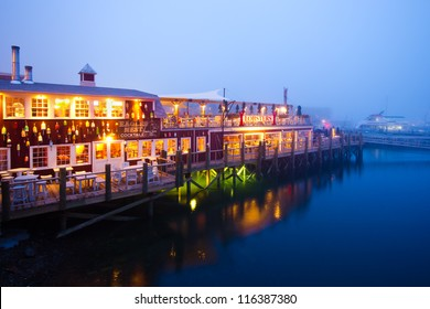 BAR HARBOR, ME - JULY 24:  Dockside lobster restaurant in historic Bar Harbor ME on night of July 24, 2011. Bar Harbor is a famous location in Down East Maine with a long history of lobstering.