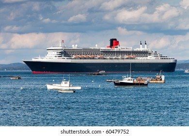 BAR HARBOR, USA - October 5: Visit of big ocean ship Queen Mary 2 on October 5, 2009 in Bar Harbor, Mount Desert Island in Maine, USA. Queen Mary 2 is the biggest transatlantic ocean liner.