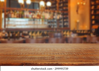 Bar interior with retro wooden table