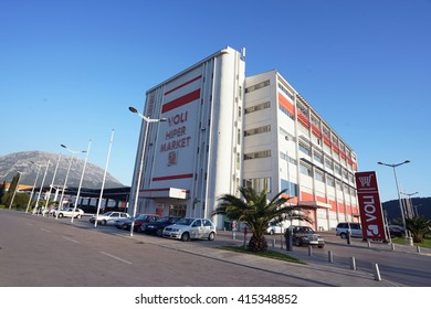 Bar, Montenegro, April, 11, 2016: Building of the hypermarket Voli with a parking - one of the most popular hypermarkets in Montenegro