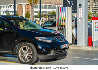 Bar, Montenegro, January, 24, 2019: View of a EKO fuel and gas station in the center of montenegrin town Bar