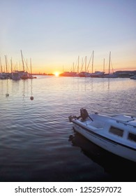Bar, Montenegro - Septembar 2017. Yacht and boat parking on a sunset in the Adriatic sea