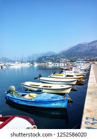 Bar, Montenegro - Septembar 2018. Parking for fishing boats and yachts on the Adriatic sea.