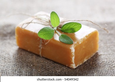 Bar of natural handmade Soap with herb sage