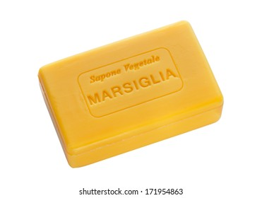 "Bar of natural soap of ""marsiglia"" isolated on white"