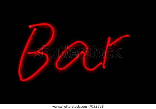 Bar, red neon sign on black night background