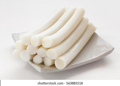 Bar rice cake(stick of rounded rice cake). Korean traditional food.
