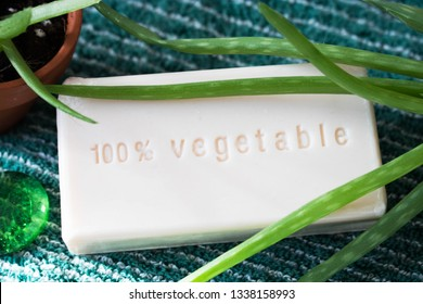 "Bar of soap with the english writing ""100 percent vegetable"". Vegan, handmade soap in natural light. Plant based beauty and cosmetics. Cleansing bar with fresh, green aloe plant. Cruelty free formula."