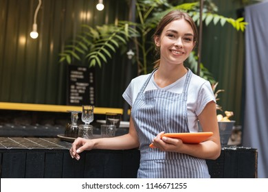 Bar stand. Pleasant beaming waitress feeling busy while standing near bar stand in fancy restaurant