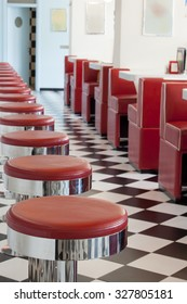 bar stool details in american diner restaurant, shallow DOPF
