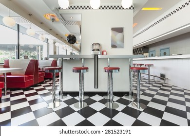bar stools in a american diner restaurant
