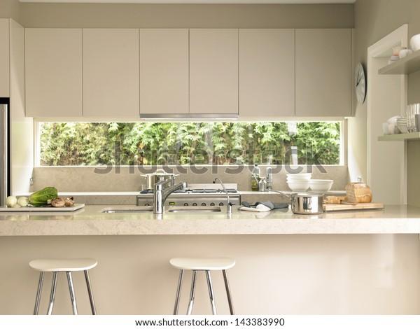 Amazing Bar Stools By Modern Kitchen Island Stock Photo Edit Now Machost Co Dining Chair Design Ideas Machostcouk