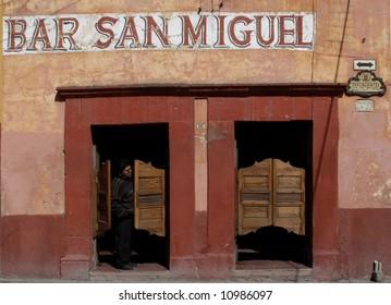 Bar with swinging doors in San Miguel de Allende, Mexico