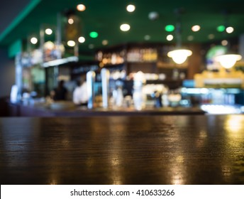 Bar Table top Counter with Blurred Restaurant Background